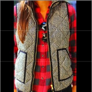 J. Crew Excursion Quilted Down Vest Herringbone Md